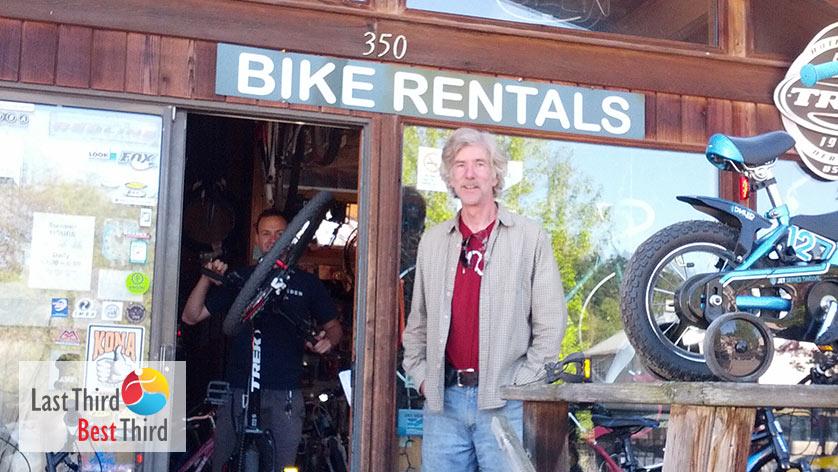 Dan in front of his Bike Shop