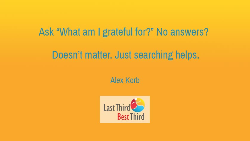 """""""Ask 'What Am I Grateful for?' No answer? Doesn't matter. Just searching helps."""" ~Alex Korb"""