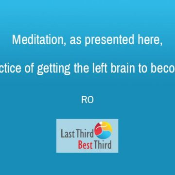RO quote about meditation, white text on blue background with logo bottom center