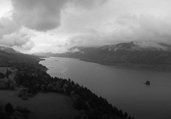 Columbia River on a cloudy, foggy day
