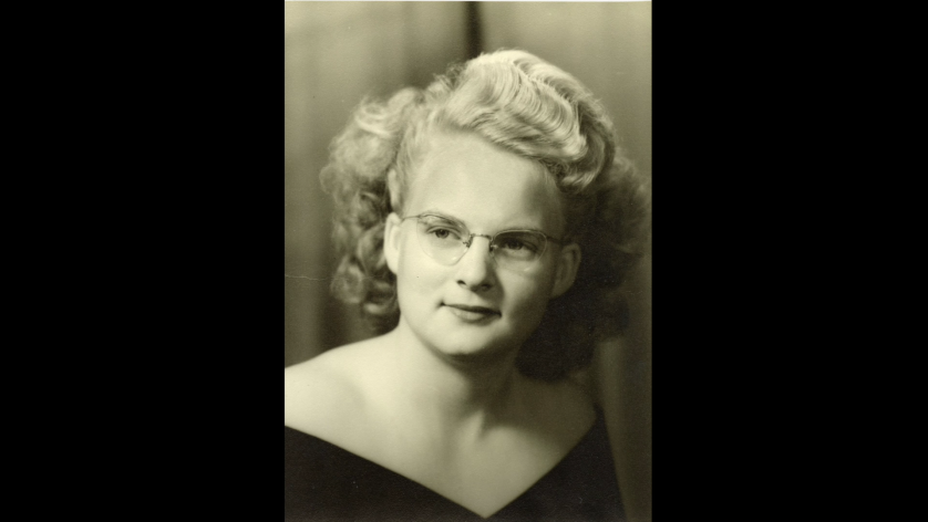Professional black and white photo of Aunt Jean
