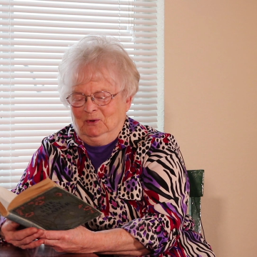 Aunt Jean today, reading James Whitcomb Riley's The Bear Story