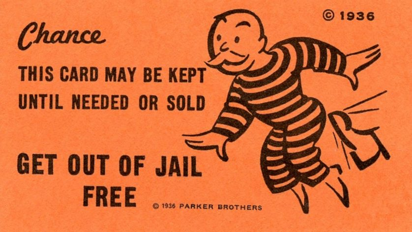 Monopoly Game's Get Out of Jail Free Card