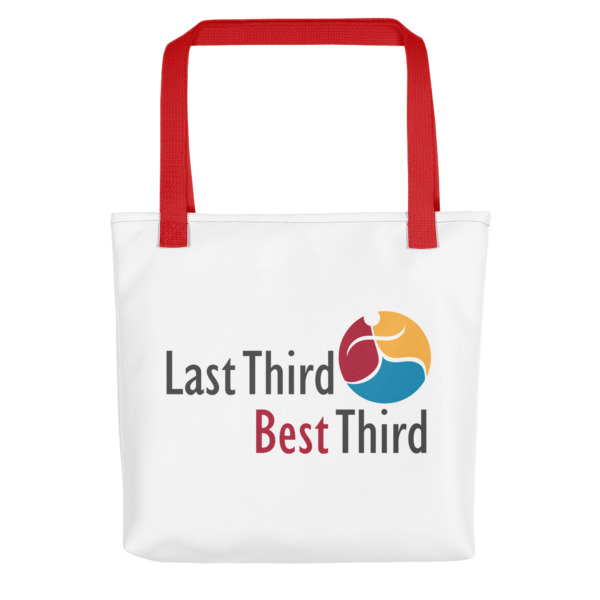 Last Third Best Third logo on white tote bag
