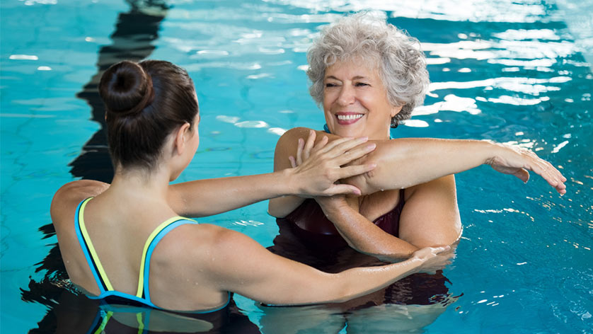 Senior and Instructor Water Aerobics