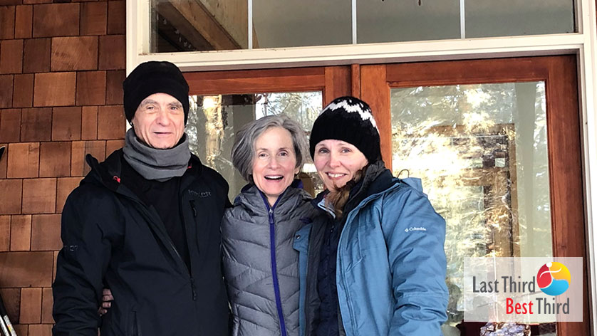 Margie welcomes friends to her cabin at Lake Cascade, Idaho for a ski weekend