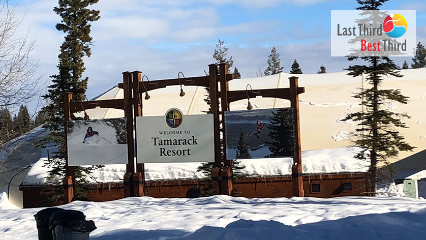 Tamarack Resort sign marks the entrance of the ski slopes in Lake Cascade, Idaho