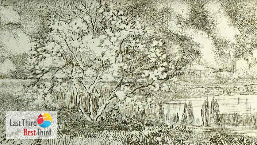 Etching of a tree to the front left of a lake, and a tiny village lies in back of the lake