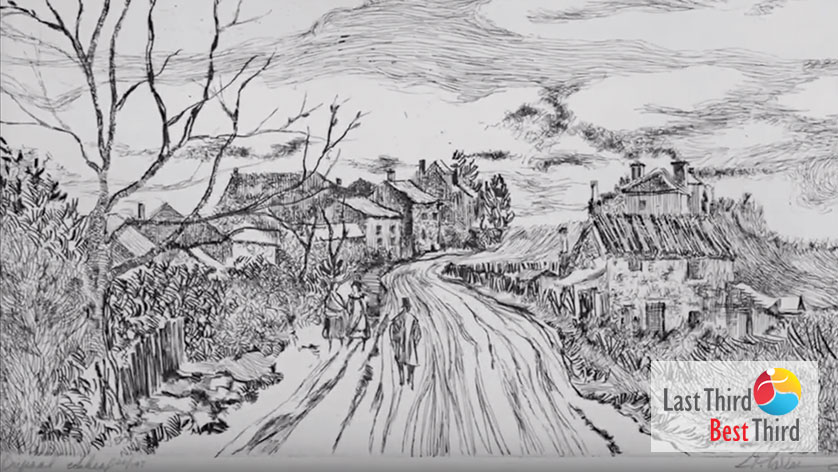 Pen and ink of people walking on a dirt road towards a village in the distance