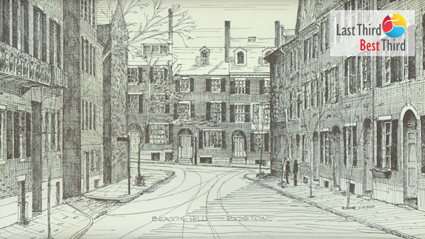 Pen and Ink etching of two people peering into a building at Beacon Hill, Boston Massachusetts