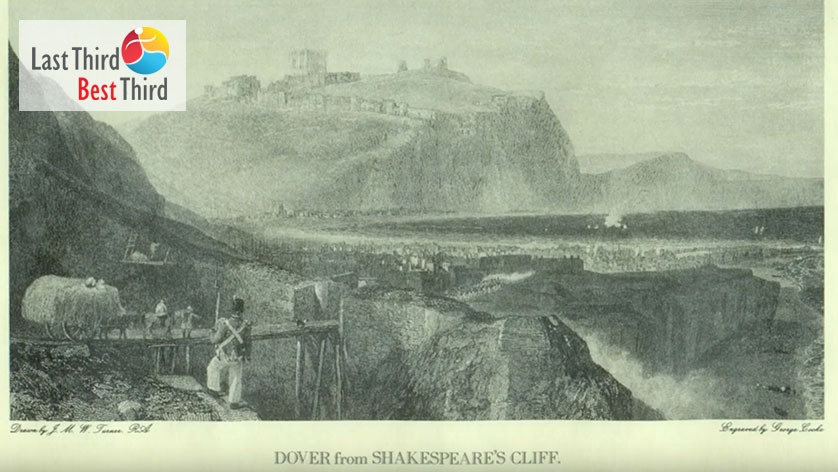 Old, yellowed pen and ink etching of a soldier looking out at the view of the Cliffs of Dover