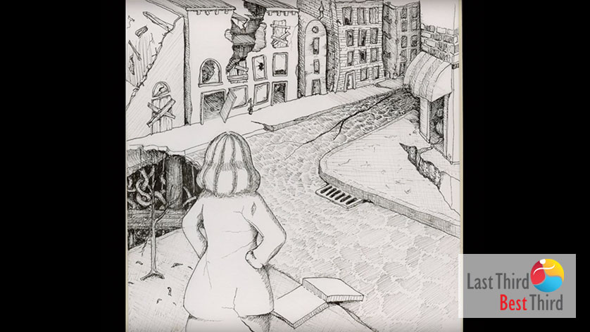 Pen and ink of a woman, hands on hips, back towards us, looking from her stoop to the cobblestone road of her city neighborhood