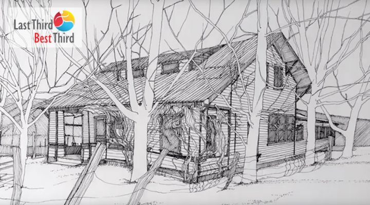 Pen and ink sketch of RO's grandparents' house